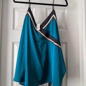 Turquoise silk tank top
